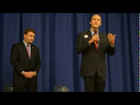 "Jason Rapert disrespectfully calls Tyler Pearson a ""boy"" as they debate at the Greenbrier Middle School. 10/14/14."