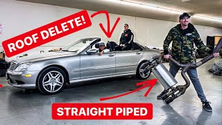 WE HACKED THE ROOF OFF AND STRAIGHT PIPED MY SUPERCHARGED AMG! *ITS SO LOUD*