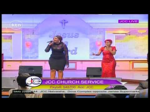 Singers Lady B and size 8 performs at JCC Sunday service.