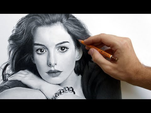 Портрет Энн Хэтэуэй карандашом (Anne Hathaway - portrait drawing video).