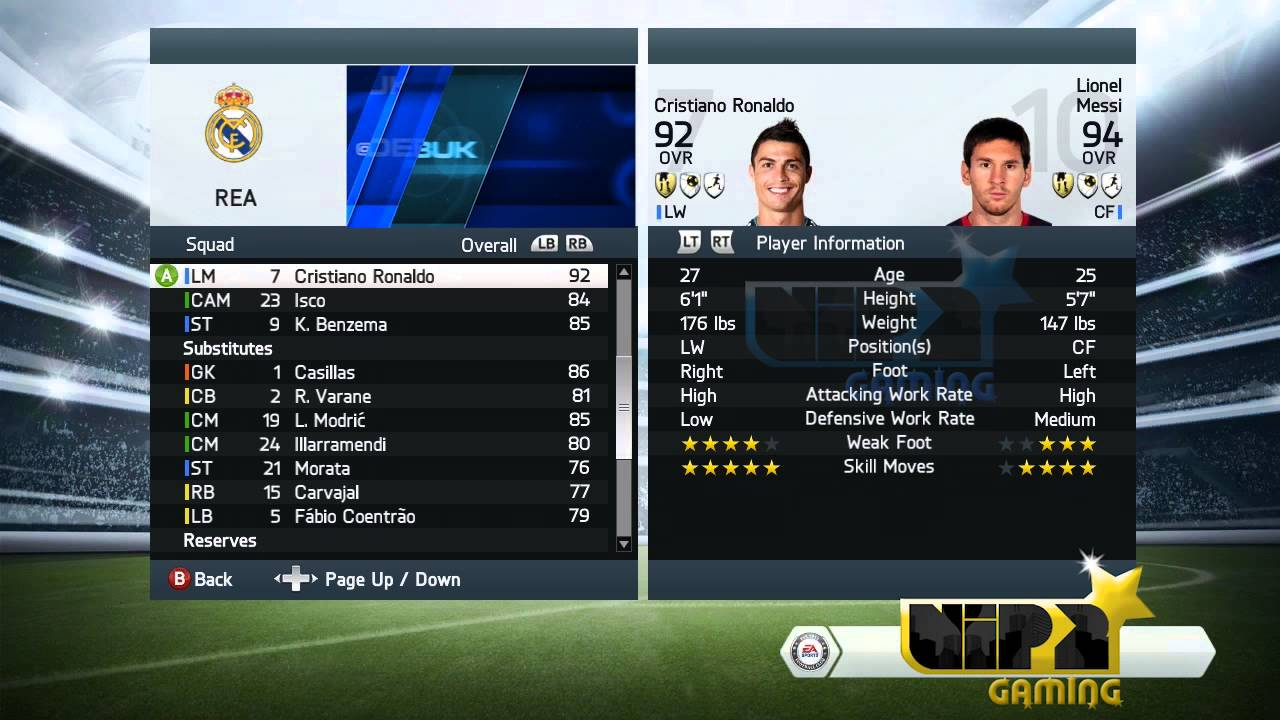 Ronaldo Player Stats Fifa 14 Ronaldo vs Messi Stats