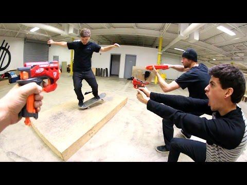 Nerf Attack Skateboarding!