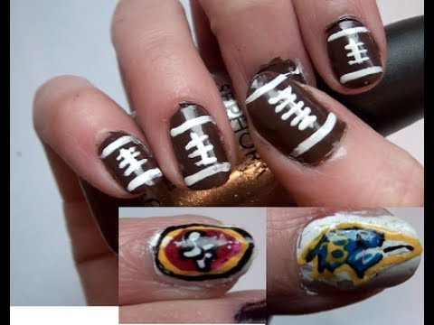 Superbowl 2013 Football Nails!
