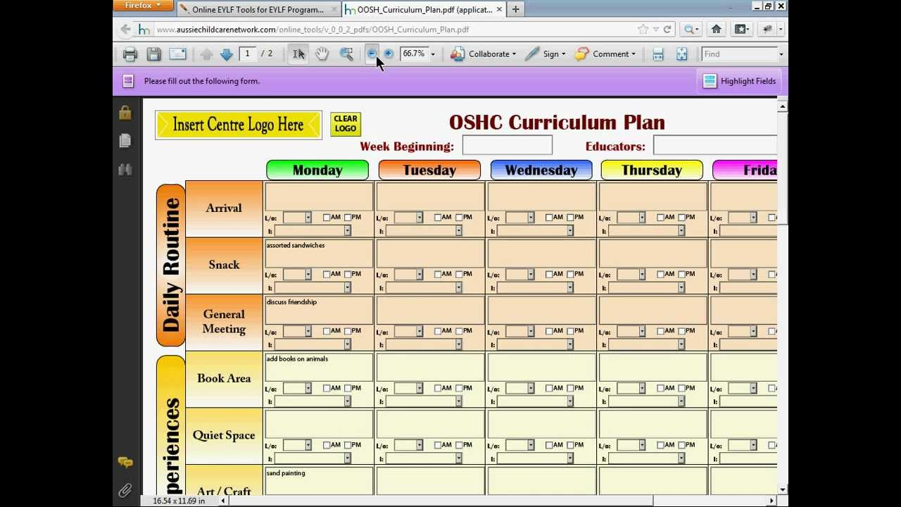 program plan template for child care - oosh before and after school care programming online