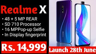 Realme X @ Rs. 14,999| Price & Launch date in India| Official first look & Specs.