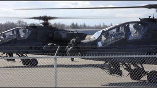 Convoy Of Apache Helicopters Take Off From Civilian Airport U S Army Boeing Ah 64