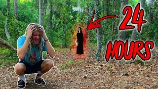I Spent 24 Hours In A Haunted Forest In Florida - Challenge (Scary Noises & Sighting)
