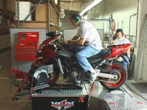 2001 Kawasaki Ninja ZX-12R with TBR Exhaust on our dyno. Video