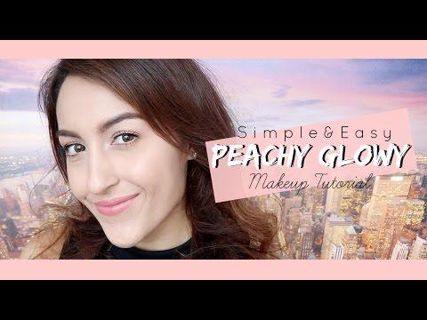 How to สอนแต่งหน้า   ดูโกลว์สวยสดใสแบบธรรมชาติโทนสีพีช Simple and Easy Glowy Peachy Makeup Tutorial
