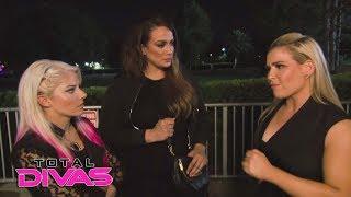 Nia Jax, Natalya and Alexa Bliss chat backstage at the Mae Young Classic: Total Divas, Nov. 29, 2017
