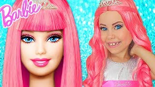 Barbie Doll Kids Makeup Alisa Pretend Play how GIANT DOLL & DRESS UP in Princess Dress & Makeup Toys