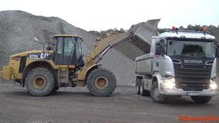 4K| CAT 972H Loading Mercedes-Benz Arocs & Scania Trucks