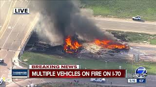 At least 1 dead, multiple injuries reported following fiery crash involving 12 cars, 3 semis on I-70