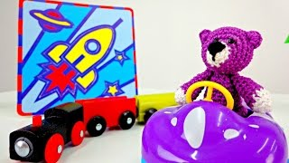 Videos for kids and Puzzle game. Bear and rocket.