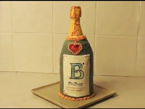 Champagne Shaped Birthday Cake