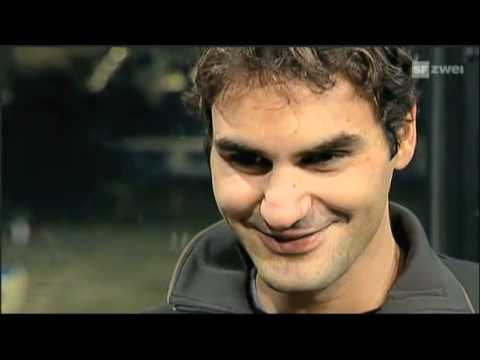 2010 Basel Final Roger Federer Champion Interview,Twin Daughters Myla and Charlene In Ceremony