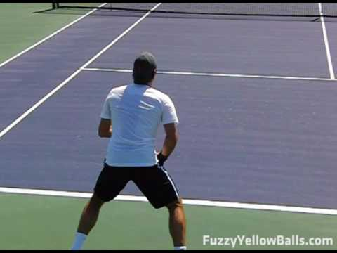 Roger Federer Return and Inside-Out Forehand in Slow Motion