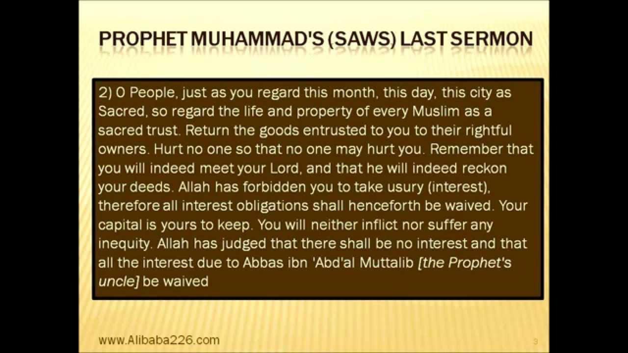 The Last Sermon of Prophet Muhammad Saw Prophet Muhammad Saws Last