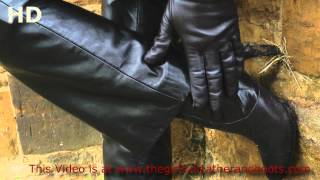Girl In Leather Pants Gloves Jacket Boots Running Walking Putting On Lederstiefel