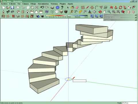 Escalera caracol sketchup youtube for Como hacer una escalera de cemento