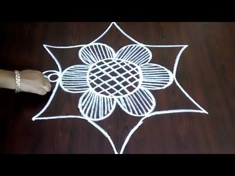 Easy 3 x 2 Lines Rangoli Design ||  Lotus Flowers With Lines Kolam || Fashion World