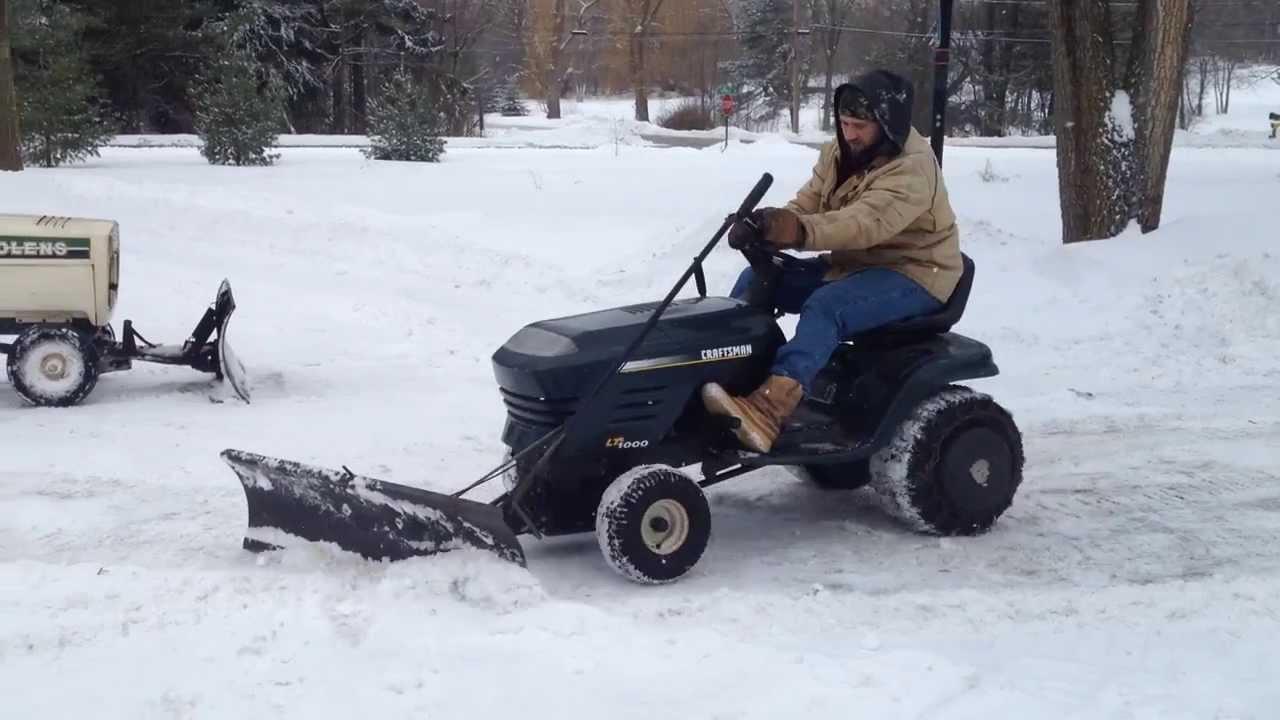 Craftsman Lawn Mower Snow Plow : Craftsman lt snow plowing youtube