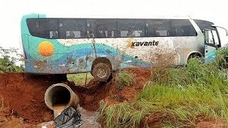 Crazy Bus Driving Skills | Extreme Bus OffRoad in Mudding   Roads || Bus Stuck In Mud