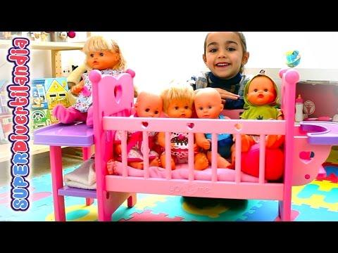 Cuna You&Me y bebés Nenucos - Guardería Divertilandia (Bedtime baby doll).