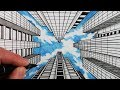 How to Draw 1-Point Perspective: Draw Buildings and Sky