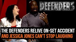 The Defenders relive on-set accident (and Jessica Jones can't stop laughing)