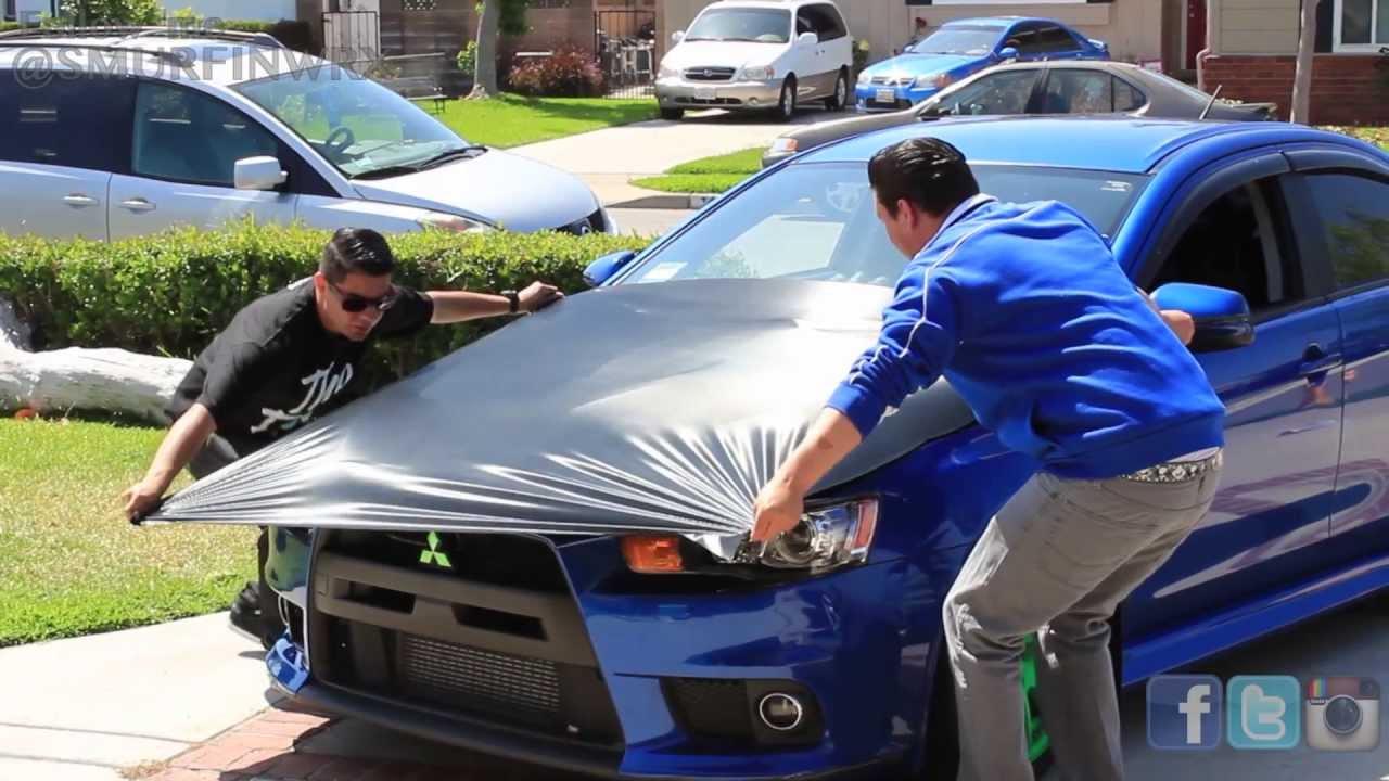 Evo X Carbon Fiber Hood Wrap Youtube