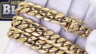 Gold Miami Cuban Chain Necklace | Triple Lock Clasp | Hip Hop Jewelry