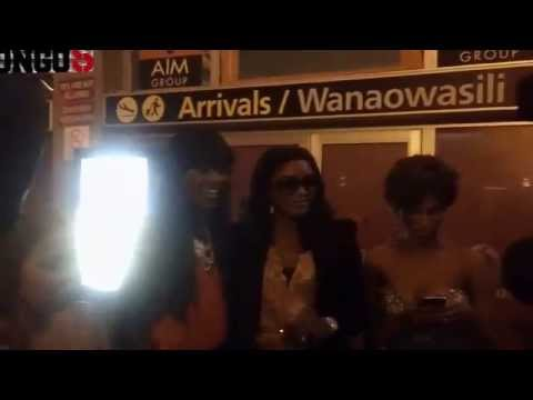 Omotola is welcomed by Wema Sepetu, Miriam Odemba and Mange Kimambi