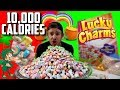 WORLDS LARGEST BOX OF LUCKY CHARMS MARSHMALLOWS! (10,000+ CALORIES)