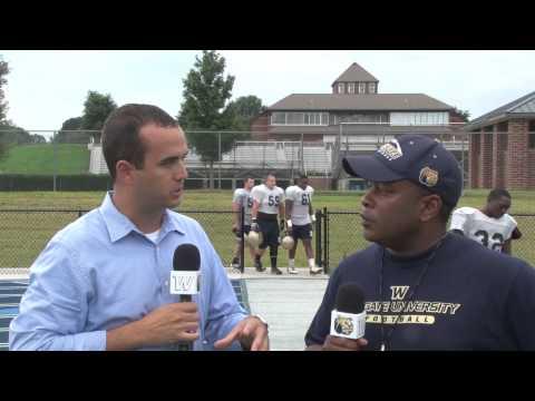 2013 Wingate Football - August 20 practice report with Coach Jordan & linebacker TJ Weinberg