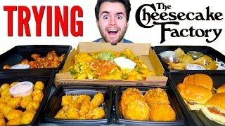 TRYING CHEESECAKE FACTORY APPETIZERS! - Fried Mac N' Cheese, Nachos, & MORE Restaurant Taste Test!