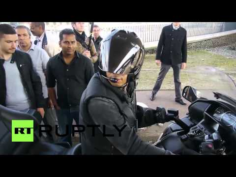 France: Uber strikers knock motorcycle taxi down