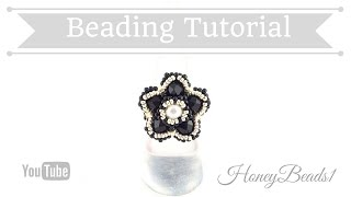 Bling Bling Flower Ring Beading Tutorial by HoneyBeads1