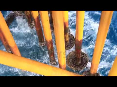 waves hit oil and gas producing slots at offshore platform oil and gas industry 7