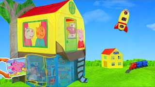 Peppa Pig Unboxing: Play Tent with George, Kitchen, Cash Register, Train & Toy Vehicles for Kids
