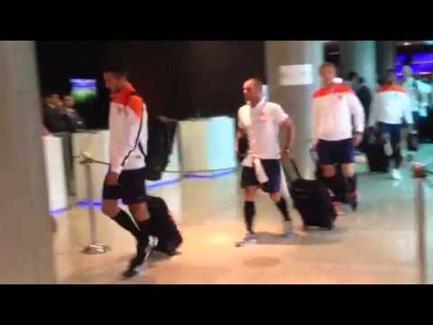 Netherlands' World Cup team arrives at Sao Paulo hotel