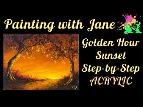 Golden Hour Sunset Step by Step Acrylic Painting on Canvas for Beginners