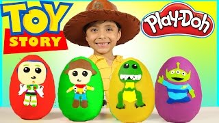 New Toy Story 4 Play-Doh Surprise Eggs Kids Toys Disney Pixar Buzz Lightyear Woody Rex Movie Trailer