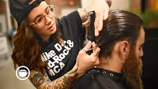 Refined Scissor Haircut & Beard Trim by Andy | The Philadelphia Barber Co.