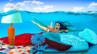 I Moved my Sisters Room Underwater (PRANK) Mattress in Pool!