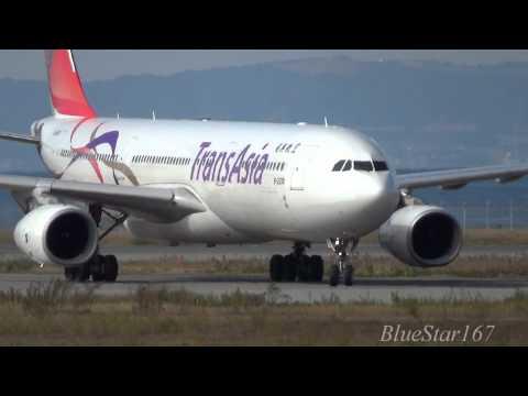 TransAsia Airways Airbus A330-300 (B-22101) landing at KIX/RJBB (Osaka - Kansai) RWY 06L