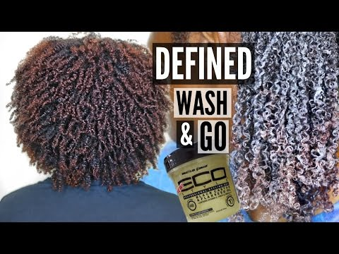 Wash and Go on THICK. KINKY NATURAL HAIR   using the Black Castor & Flaxseed Eco Styler Gel