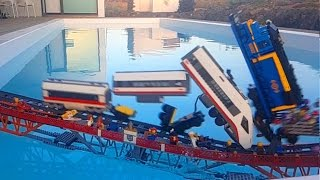 Lego train crash on Lego bridge (MOC)
