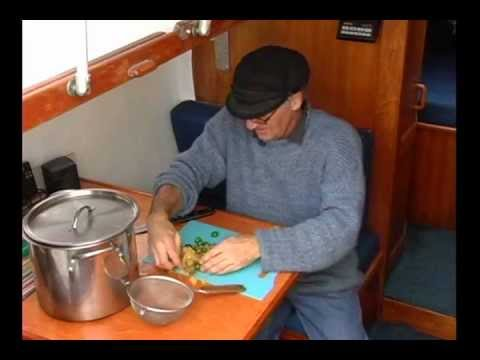 Cooking a traditional cheese paska on a small sailboat