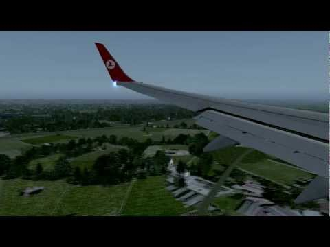 FSX HD Flight Simulator X- Munich Landing Turkish Airlines, Türk Hava Yolları Münih İnişi